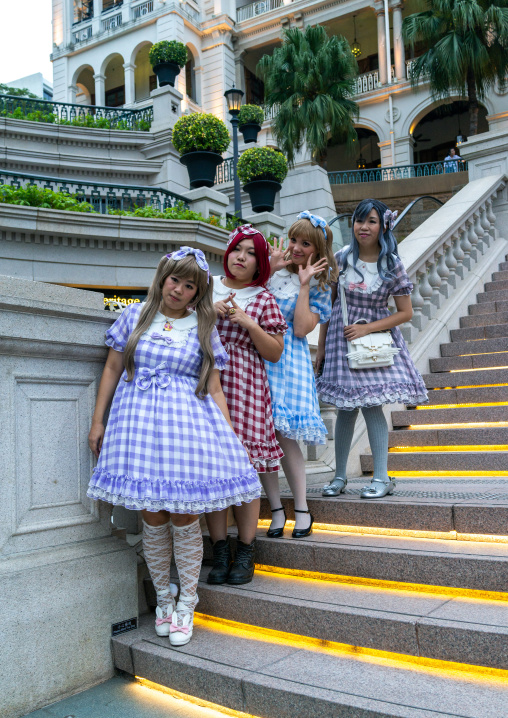 Cosplay girls on a stair, Special Administrative Region of the People's Republic of China, Hong Kong, China