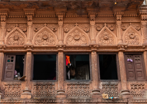 Old stone haveli windows, Rajasthan, Jodhpur, India