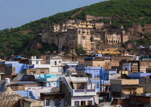 Cityscape with old blue houses brahmins under the fort, Rajasthan, Bundi, India
