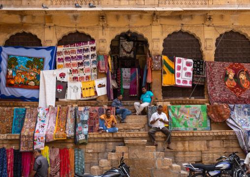 Rajasthani tapestries for sale in Jaisalmer fort, Rajasthan, Jaisalmer, India