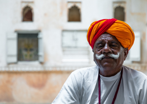 Portrait of a rajasthani guard in the fort in traditional clothing, Rajasthan, Jodhpur, India
