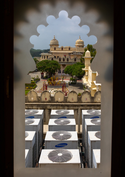 Window with a view on air conditioners in the city palace, Rajasthan, Udaipur, India