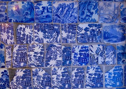 Blue tiles on the wall of a room in Junagarh fort, Rajasthan, Bikaner, India