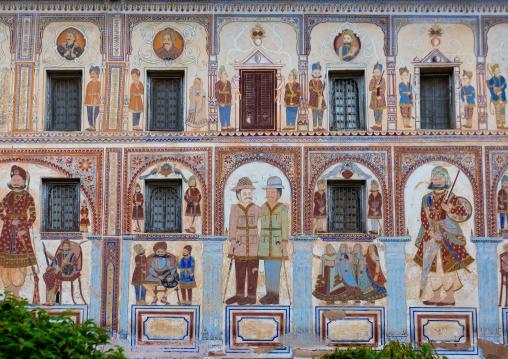 Wall paintings on ramnath podar haveli museum, Rajasthan, Nawalgarh, India