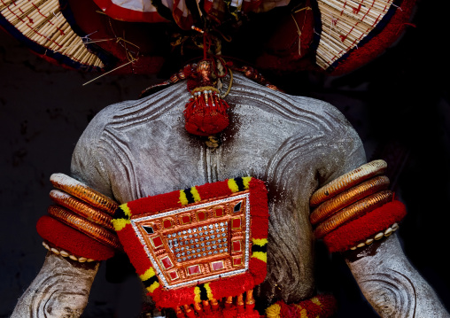 Man Dressed For Theyyam Ritual Covered With Traditionnal Painting, Thalassery, India