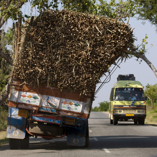 Overloaded Truck On The Road To Mysore, India