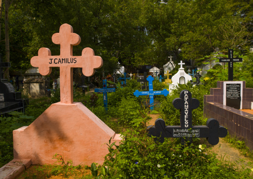 Colorful Graves In A Cemetery, Pondicherry, India