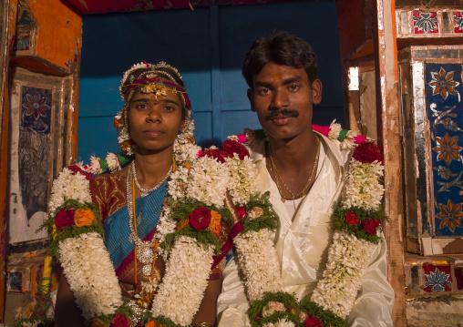 Newly Married Couple Dressed For The Ceremony With Flower Garland And Traditional Clothing Near The Mahamaham Tank, Kumbakonam, India