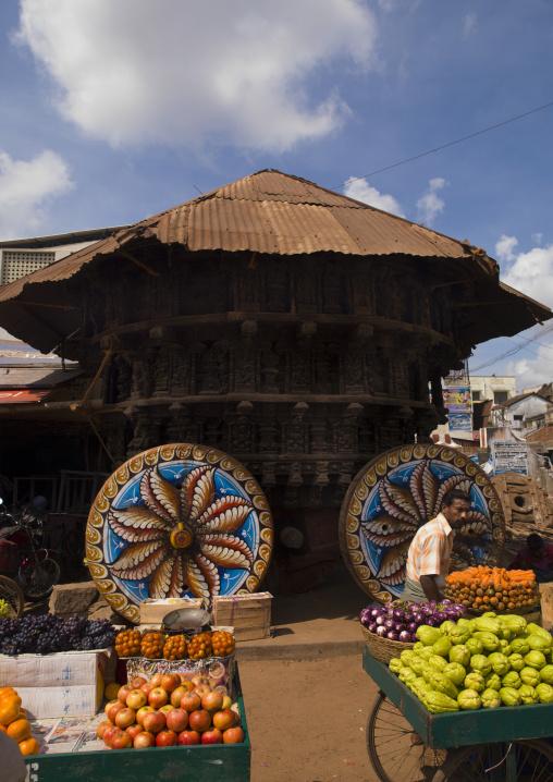 Ceremony's Ratha (Charriot) With Painted Wheels At Kumbakonam Market Place, India