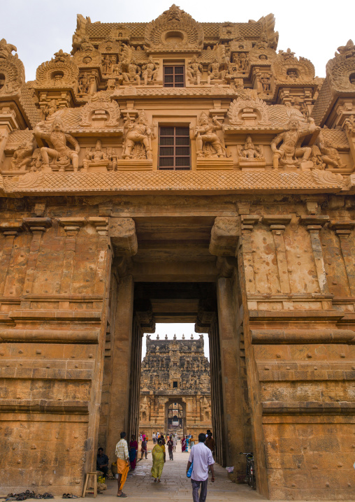 People Passing-by The Gateway Tower Of The Brihadishwara Temple, Thanjavur, India