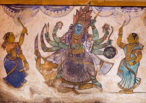 Colorful Frescoes Of Lord Shiva On Walls Of Inner Courtyard In The Brihadishwara Temple, Thanjavur, India