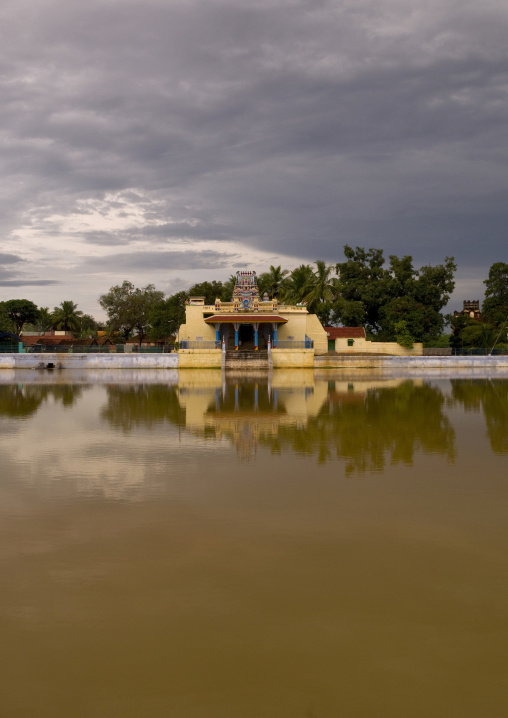 Temple In Front Of A Pond, Kanadukathan Chettinad, India