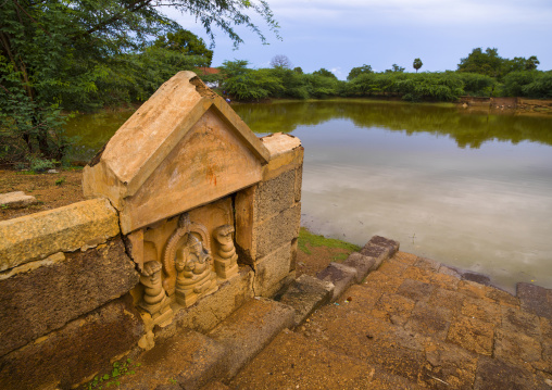 Carved Altar Dedicated To Lord Ganesh On The Banks Of A Tank Near Kanadukathan Chettinad, India