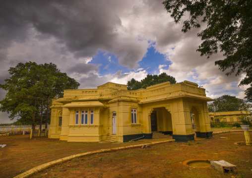 Abandonned Former Train Station Of Kanadukathan Chettinad With Yellow Walls, India