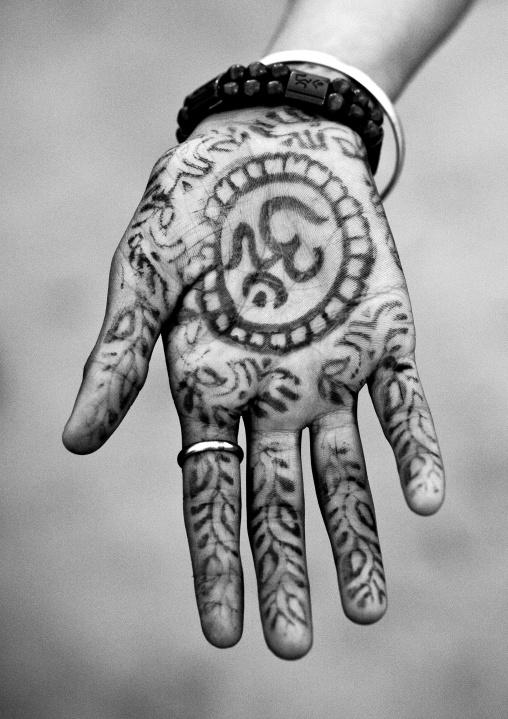 Hinduism Symbol On A Hand, Maha Kumbh Mela, Allahabad, India