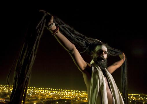 Naga Sadhu With Very Long Hair, Maha Kumbh Mela, Allahabad, India