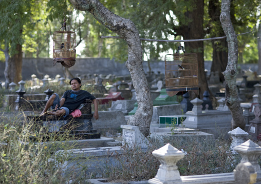 Having a rest in cimetery, Java island indonesia