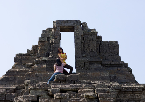 Girls in old temple, Java island indonesia