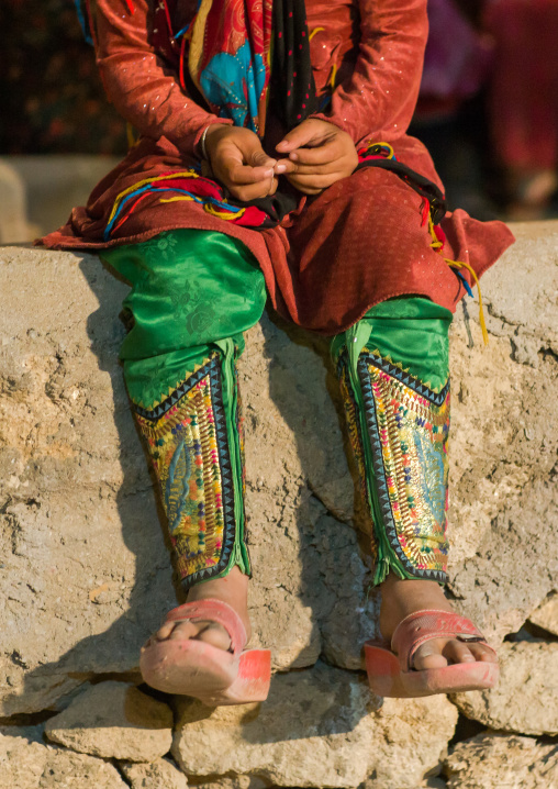 Girl wearing an embroidered traditional trousers, Qeshm island, Salakh, Iran
