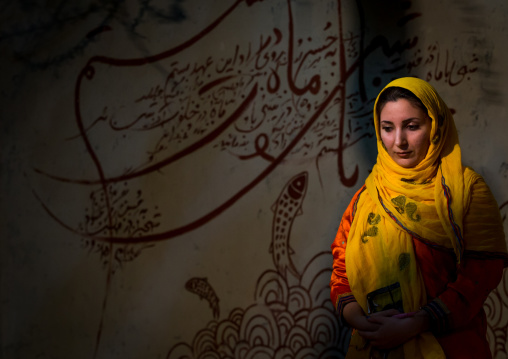Portrait of beautiful young veiled woman in front of iranian calligraphy, Qeshm island, Salakh, Iran