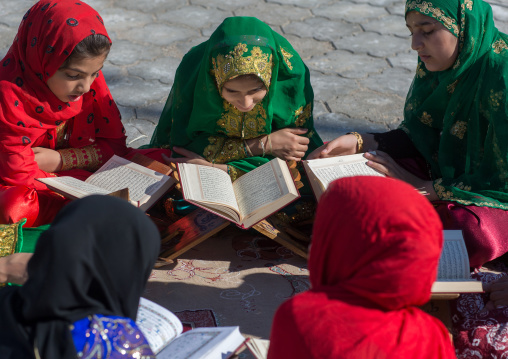 girl madrasa students reading koran, Hormozgan, Bandar-e Kong, Iran