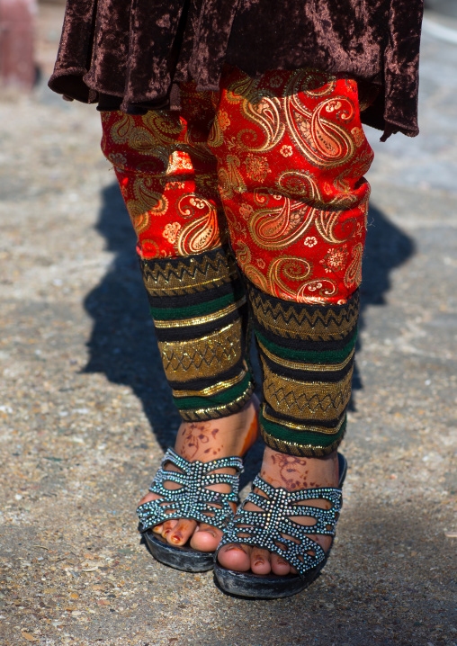 girl wearing an embroidered traditional trousers, Hormozgan, Bandar-e Kong, Iran