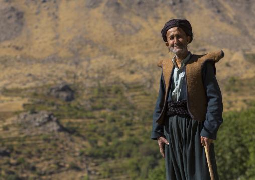 Kurdish old man with traditional clothing, Howraman, Iran