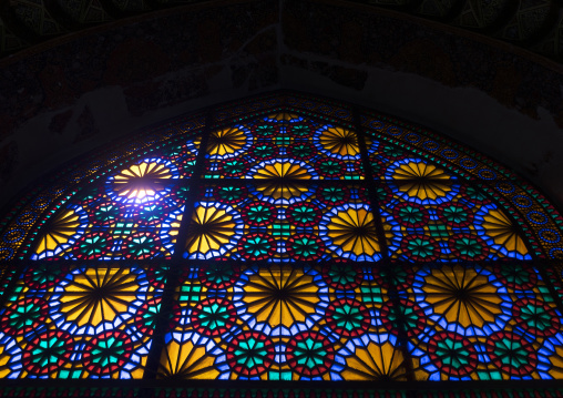 The stained glass windows of the shah-e-cheragh mausoleum, Fars province, Shiraz, Iran