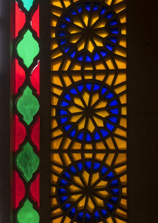 The stained glass windows of the shah-e-cheragh mausoleum, Fars province, Shiraz, Iran