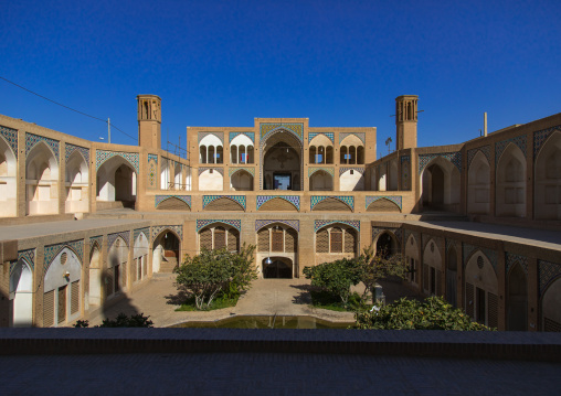 The 18th century Agha Bozorg mosque and its sunken courtyard, Isfahan Province, Kashan, Iran