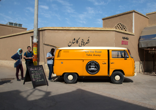 A mobile coffee van in the street for tourists, Isfahan Province, Kashan, Iran