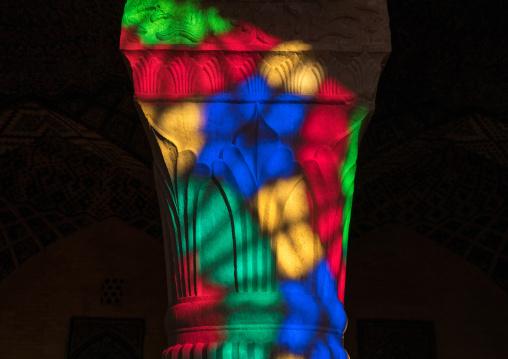 The pillars of Nasir ol Molk mosque with its beautiful colors, Fars Province, Shiraz, Iran
