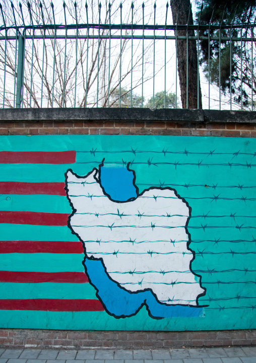 anti-american mural propoganda on the wall of the former united states embassy, Central district, Tehran, Iran