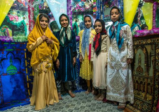 girls inside the bride and groom room for a wedding, Qeshm Island, Salakh, Iran