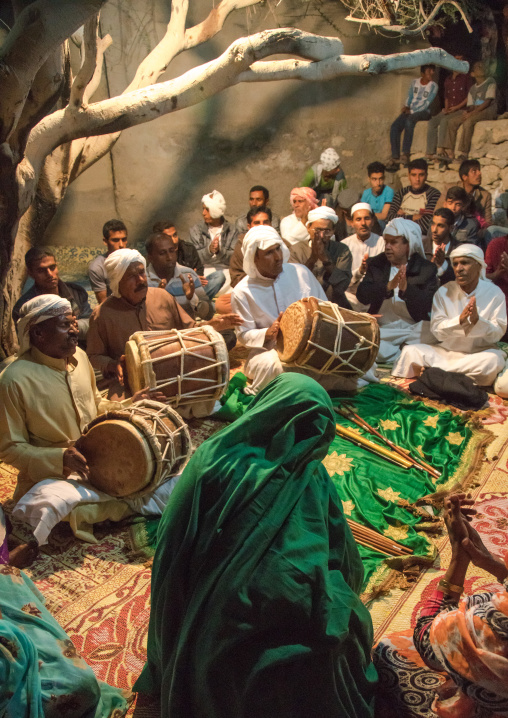 Men playing drums during a zar ceremony, Qeshm island, Salakh, Iran