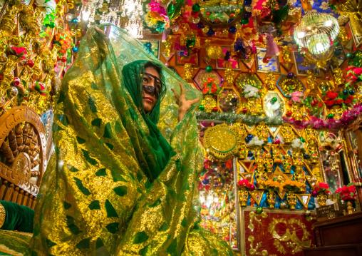 bride in the decorated room for traditional wedding, Hormozgan, Bandar-e Kong, Iran