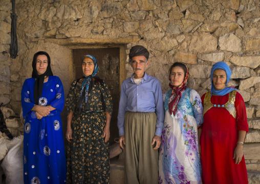 Family In The Old Kurdish Village Of Palangan, Iran