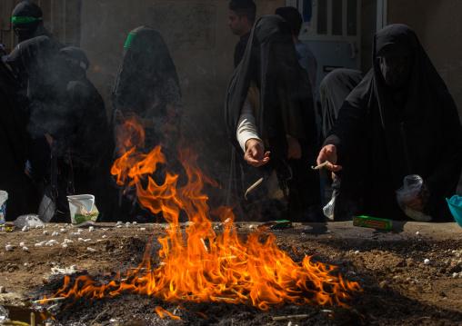 Iranian Women Light Candles During Chehel Menbari Festival On Tasua To Commemorate The Martyrdom Anniversary Of Hussein, Lorestan Province, Khorramabad, Iran