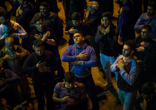 Iranian Shiite Muslim Men Chanting And Self-flagellating During Ashura, The Day Of The Death Of Imam Hussein, Golestan Province, Gorgan, Iran