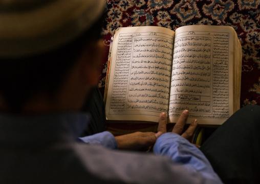 Iranian Shiite Muslim Student Reading The Koran In A Madrassah, Golestan Province, Karim Ishan, Iran