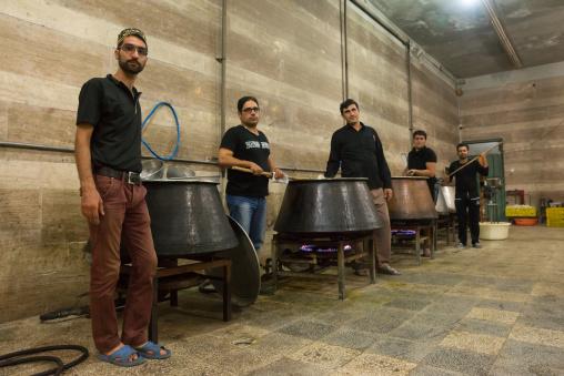 Iranian Shiite Muslim Cookers Preparing Nazri Charity Food During Muharram Before Ashura Celebrations, Isfahan Province, Kashan, Iran