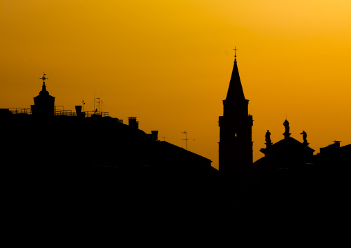 Monuments silhouette at sunset, Veneto Region, Venice, Italy