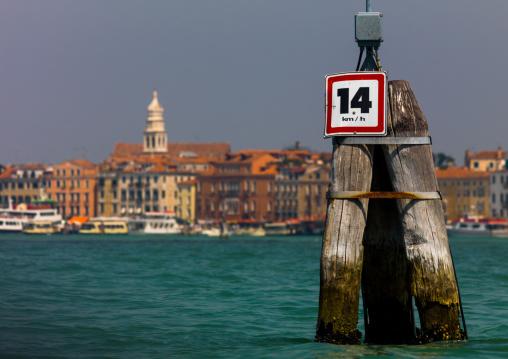 Speed limit on the grand canal, Veneto Region, Venice, Italy