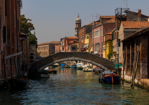 Bridge over the canal in the old town, Veneto Region, Venice, Italy
