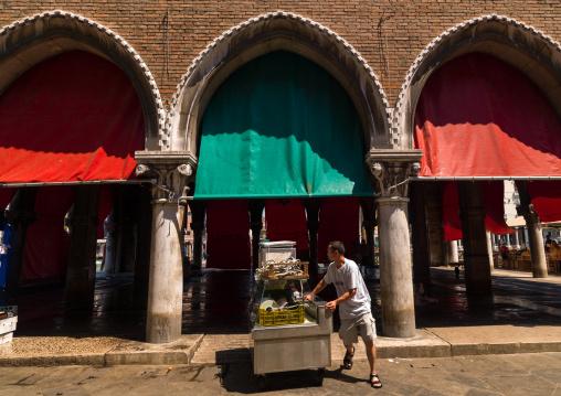 The loggia of the fish market in Rialto, Veneto Region, Venice, Italy