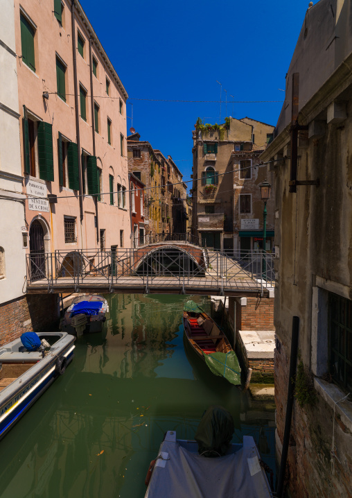 Bridge over a small canal in the old town, Veneto Region, Venice, Italy