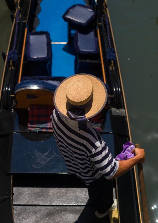 High angle view of an italian gondolier, Veneto Region, Venice, Italy