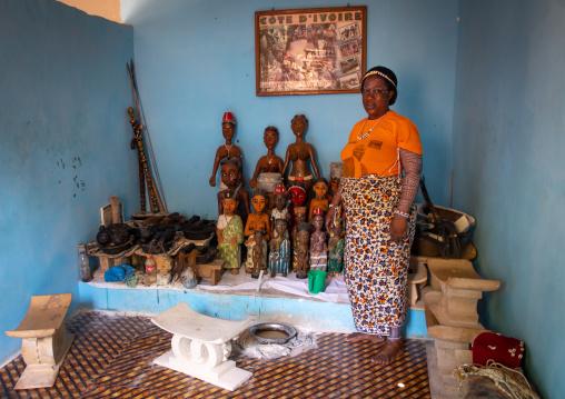 Komians sacred statues room in Adjoua Messouma Komians initiation centre, Moyen-Comoé, Aniassue, Ivory Coast