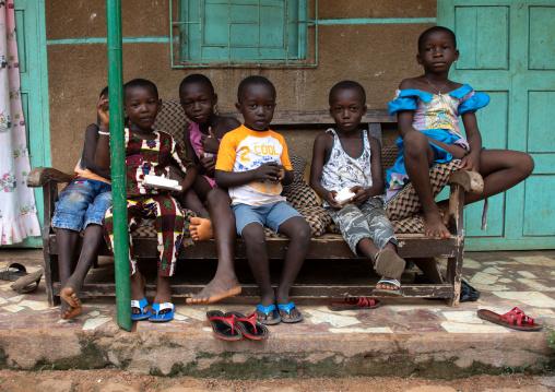 Children of Komians women in adjoua messouma Komians initiation centre, Moyen-Comoé, Aniassue, Ivory Coast