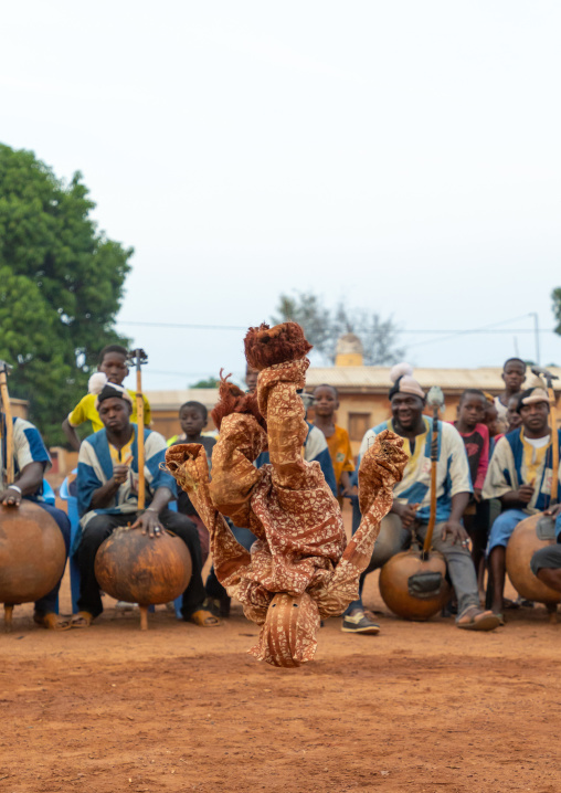 Boloye dance of the panther man performed by a child in the Senufo community, Savanes district, Waraniene, Ivory Coast